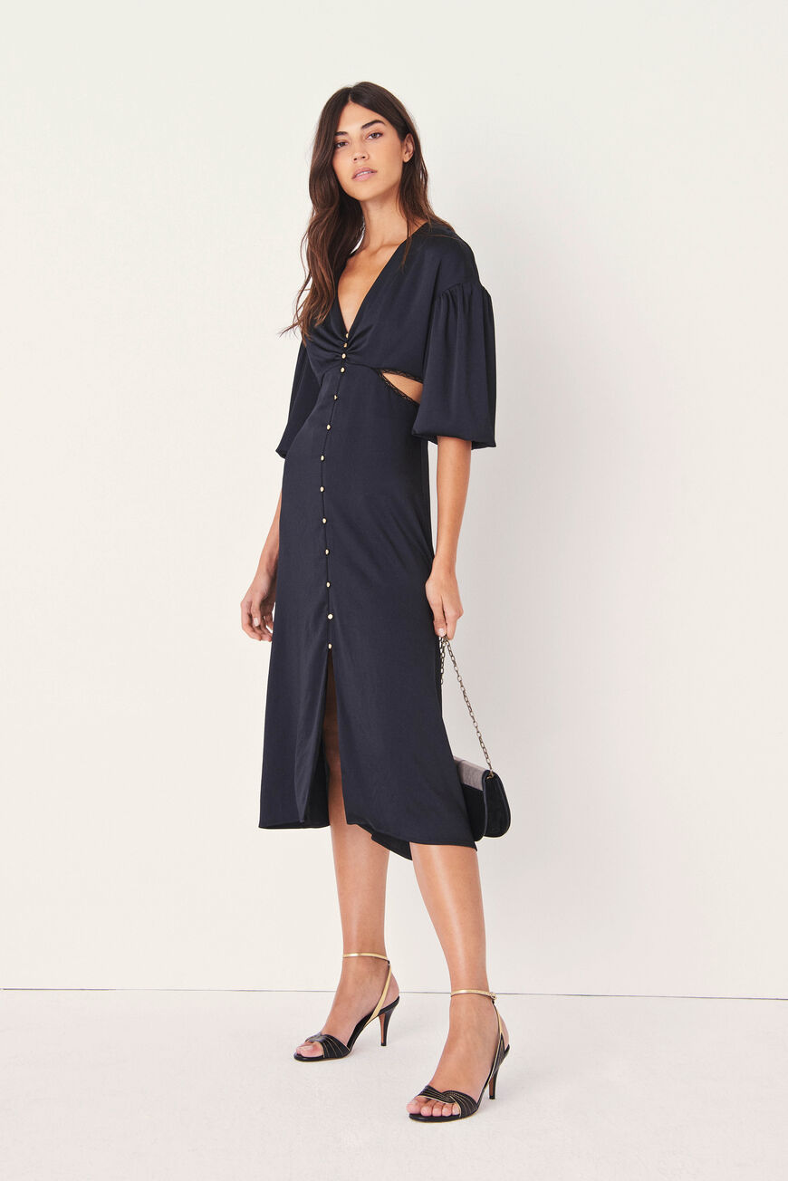 ROBE ROSE ROBES MIDI NOIR