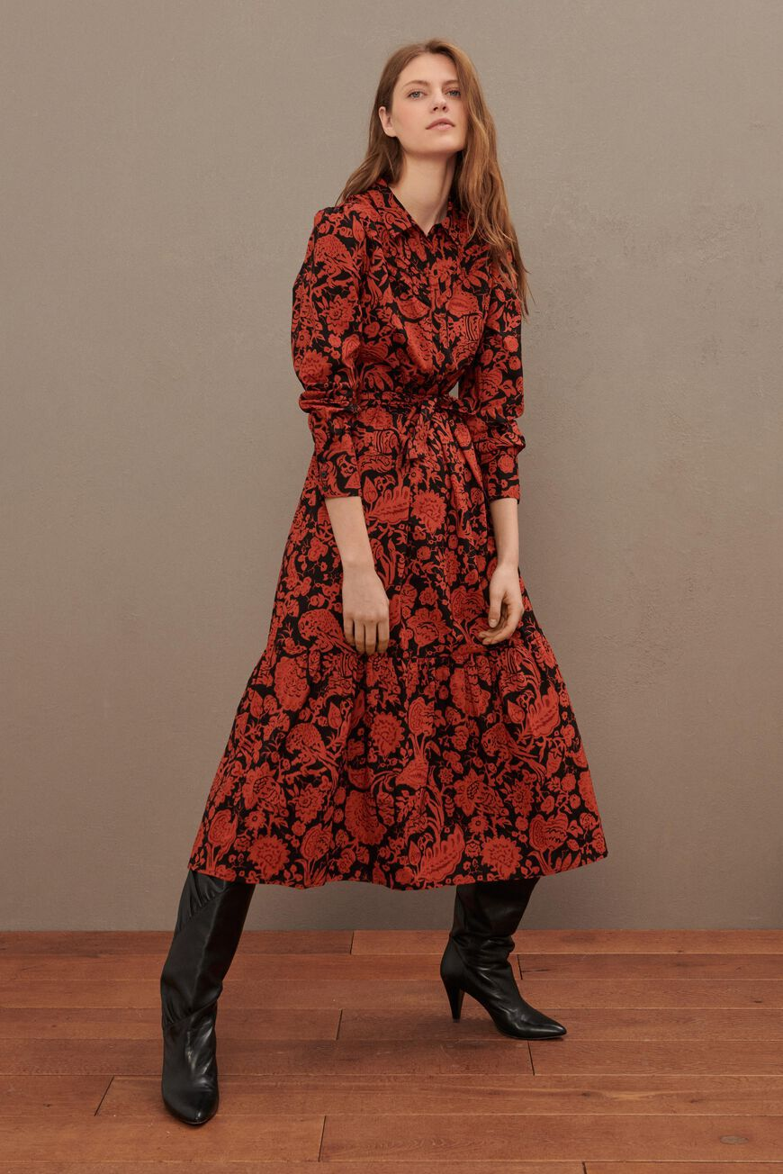 ROBE CERISE ROBES MIDI BRIQUE