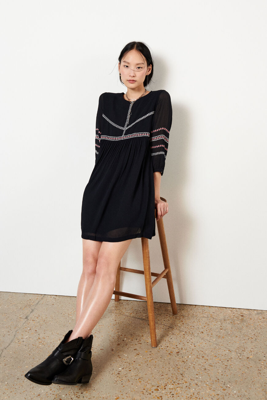 ROBE COLOMBE ROBES COURTES CARBONE BA&SH