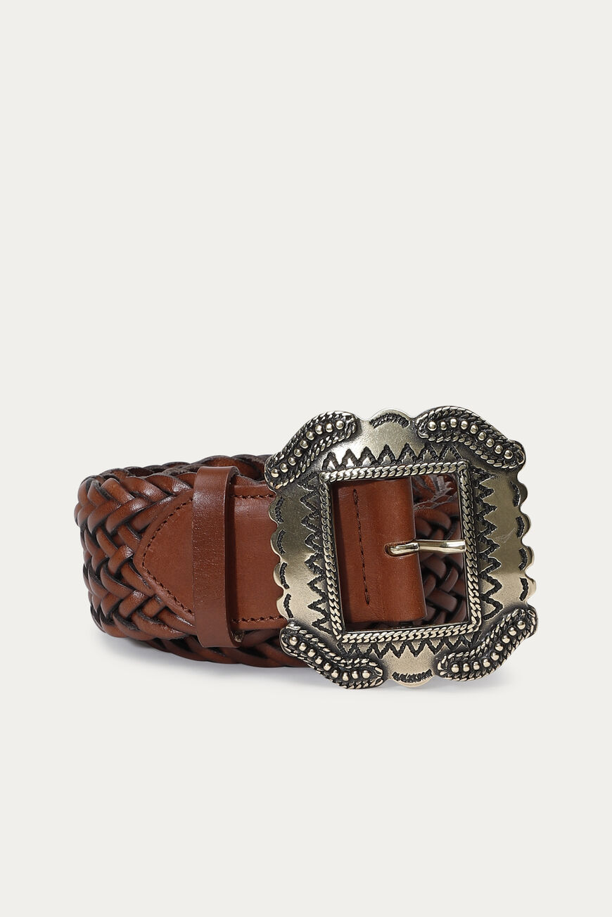 CEINTURE BRAID Main MARRON